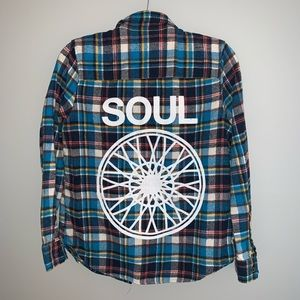 SOULCYCLE plaid button down